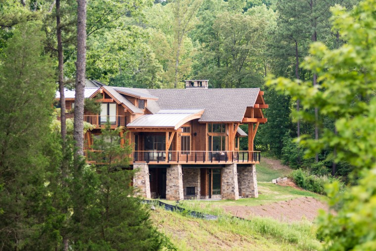 Modern Lodge, Lewisville, NC, Timber Frame, Custom Home Builder, Sonoma Building Company